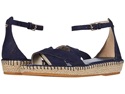 Cole Haan Cloudfeel Espadrille Ankle Strap Sandal (Marine Blue Nubuck/Tonal Hand Stitch/Natural Jute Wrap/Gum) Women