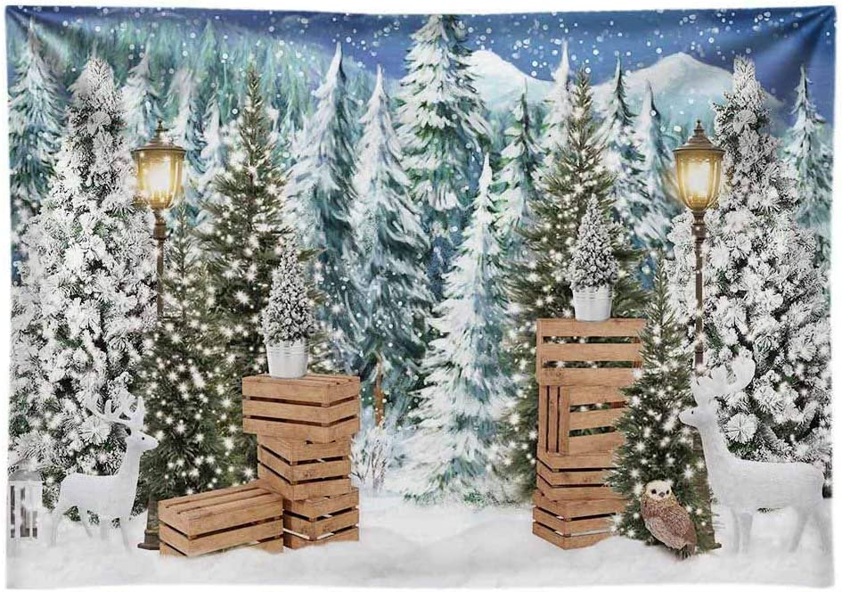 Funnytree 10x8ft Durable Fabric Christmas Winter Backdrop for Photography No Wrinkles Xmas Pine Tree Snow Background Decoration Banner for Baby Shower Birthday Photo Booth Studio Props