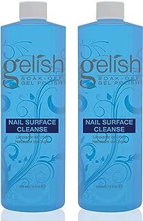 Gelish Nail Soak Off Surface Gel UV Top Coat Cleanser Bottle, 16 Fl Oz (2 Pack)