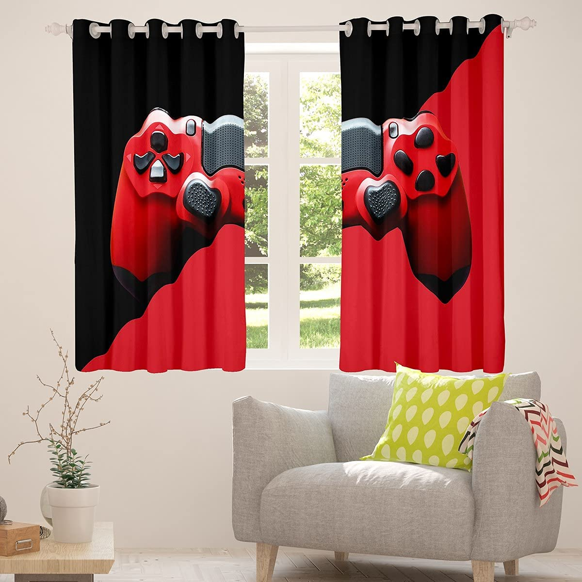 Erosebridal Teens Gamepad Curtains for Bedroom, Video Game Window Curtains Kids Boys Player Gaming Window Drapes Modern Gamer Window Treatments Curtains Living Room Decor, Red Black, 42