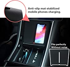 YEE PIN Model 3 Accessories Wireless Charger Dual Qi Wireless Charging Pad, Car Interior Center Console Accessories for Smartphone Charging Fast with USB Splitter & Anti-Skid Mat
