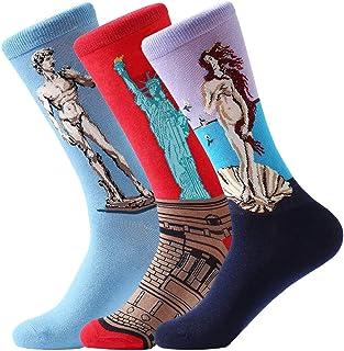 Hombre 3 pares de excelente calidad Calcetines multicolores Pack Diseño de fantasía calcetines arte retro serie de pintura Unisex talla única EU 37-45