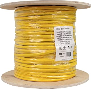 Access Control Cable Plenum: 22AWG/3 Pair Shielded + 18AWG/4 Conductor + 22AWG/4 Conductor + 22AWG/2 Conductor, Stranded Bare Copper Conductors, Yellow, 500ft Spool