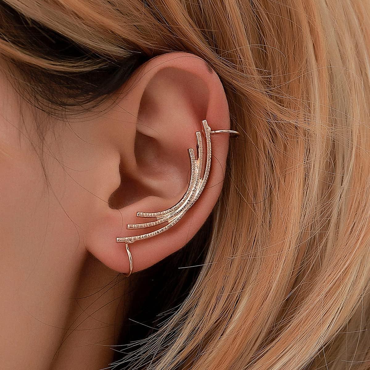 Women Star Ear Clip Water Drop Rhinestone Crystal Ear Cuff Leaf Shape Earrings