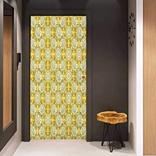 Onefzc Wood Door Sticker Yellow and White Aquarium Fishes with Stripes on Floral Composition Background Easy-to-Clean, Durable W38.5 x H79 Marigold Beige Yellow