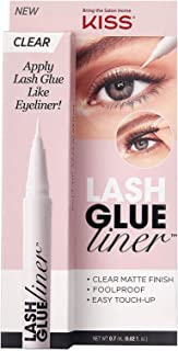 KISS Clear Lash GLUEliner, Felt-Tip Eyelash Adhesive, Clear Matte Finish, Foolproof Application, Easy Touch-Up, 0.02 Oz.