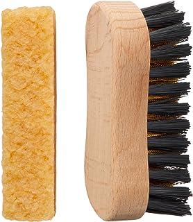 [Columbus] 靴手入れ用品 スニーカー ケア スエードブラシセット メンズ クリーナー:幅2×奥1.8×高8.3cm、真鍮入りブラシ:幅2.7×奥8.5×高3.5cm
