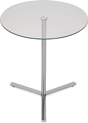 Versa Bude Table d'appoint pour Le Salon, la Chambre ou la Cuisine. Table Basse auxiliaire Moderne, Dimensions (H x l x L) 56 x 50 x 50 cm, Verre et métal, Couleur Argenté