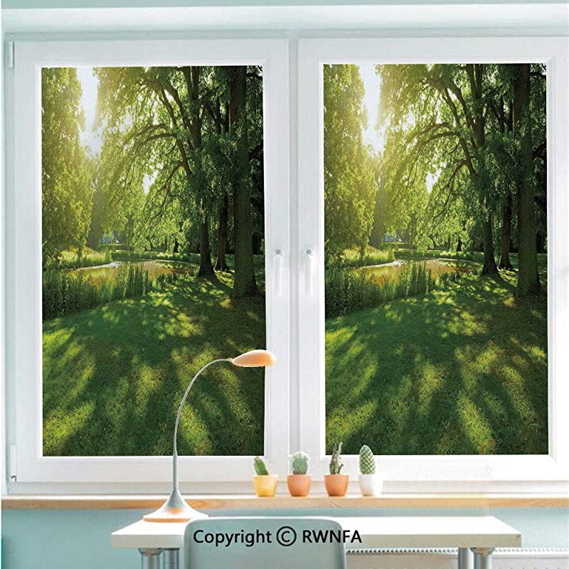 Decorative Window Films Kitchen Glass Sticker Summer Park In Hamburg Germany Trees Sunlight Forest Nature Theme Scenic Outdoors Picture Waterproof Anti UV For Home And Office 22 8 X 35 4 Green