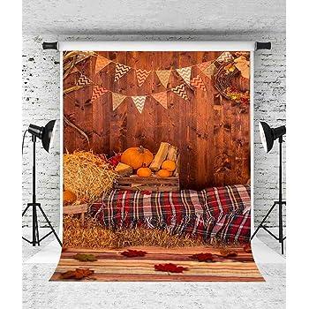 Zhy 7X5FT Autumn Thanksgiving Photography Background Pumpkin Haystack Retro Wood Car HarveSeason Background Studio Props 463