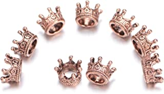 AD Beads Solid Metal King & Queen Crown Big Hole Bracelet Connector Charm Beads (20 Pcs, Queen Crown (Antique Rose Gold))