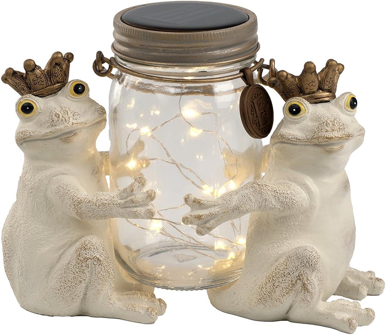 Kishima Niedliches Motiv Solarleuchte Gartendeko Glücksmotiv Frosch Flasche Licht Ornament LED Solar