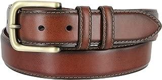 Men's Genuine Leather Dress Belt With Antique Brass Buckle