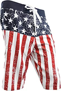 STDKNSK9 Mens American Flag Distressed Firefighter Boardshorts Swim Trunks
