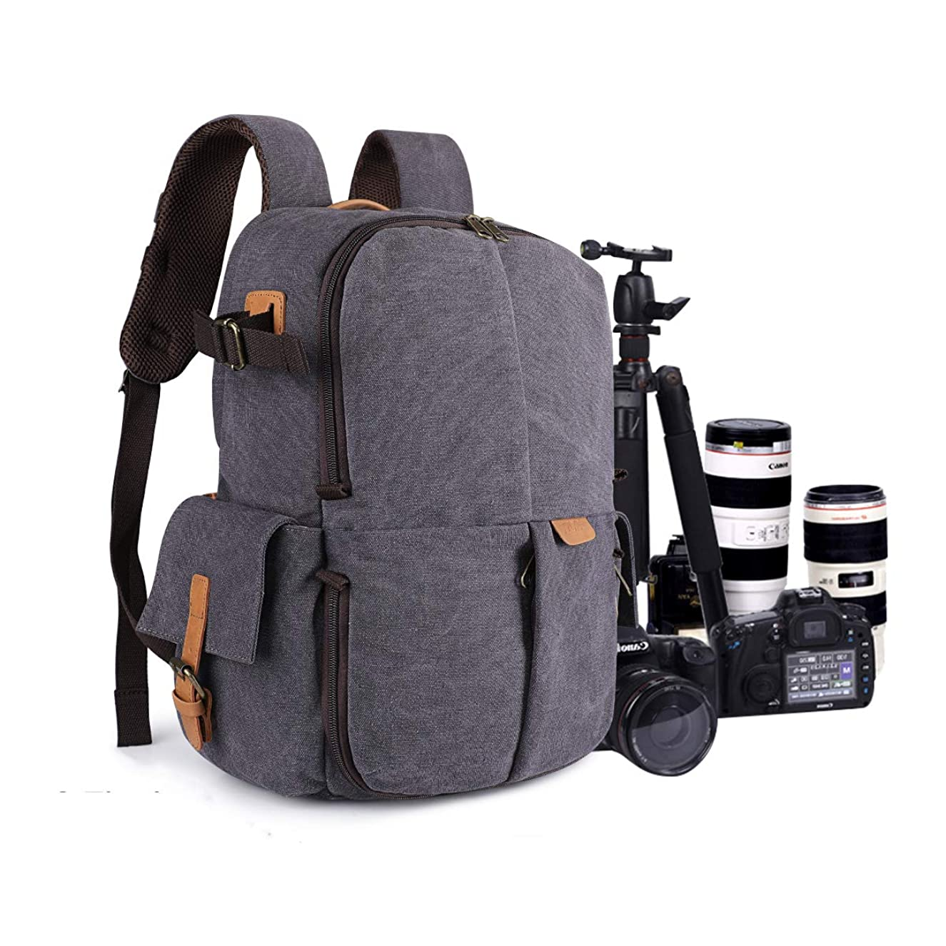 S-ZONE Camera Backpack Canvas Professional Travel Camera Case Bag Fits 15.6