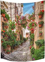 INTERESTPRINT Historical Mediterranean Porch with Flowers in Small Italian Town Tapestry Wall Hanging Cotton Linen Tapestries Art for Bedroom Dorm Home Decor, 60 W X 80 L Inches