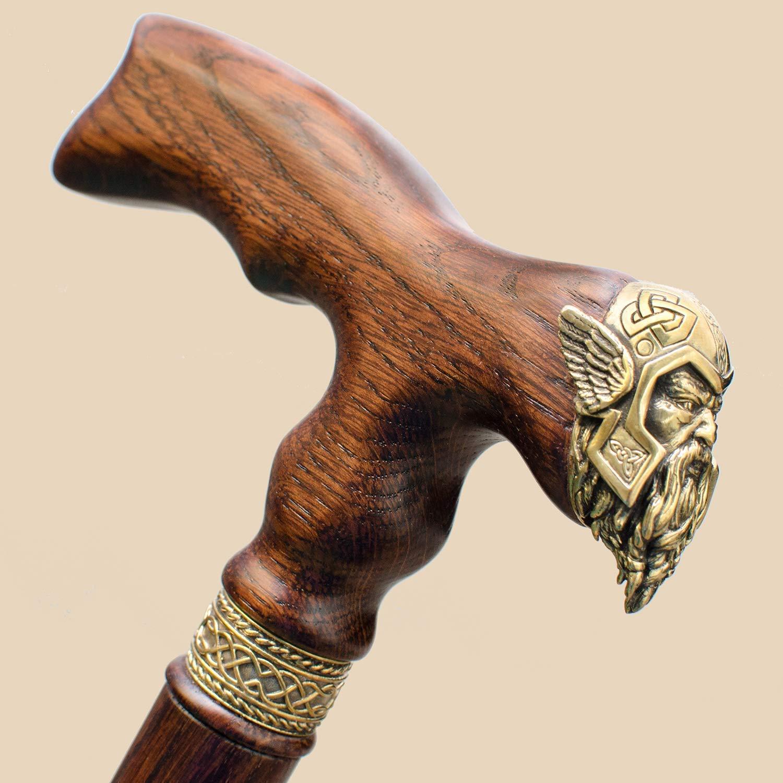 Sales of SALE items from new works Bargain sale Custom Wooden Walking Cane for Men Designer - Viking Thor Hand