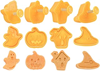 Cortador de Galletas de Halloween, 4pcs Halloween Cookie Cutter, Juego de Moldes de Pastel de Galletas con Patrón de Presi...