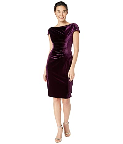 Tahari by ASL Petite Cap Sleeve Stretch Velvet Draped Neck Cocktail Dress (French Plum) Women