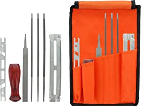 8 Piece Chainsaw Sharpener File Kit - Contains 5/32, 3/16, 7/32 Inch Files, Wood Handle, Depth Gauge, Filing Guide, Tool Pouch - for Sharpening & Filing Chainsaws & Other Blades