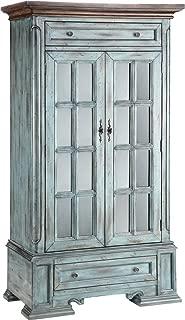 Stein World Furniture Hartford Cabinet, Antique Blue and Wood Tone