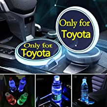 2pcs LED Car Cup Holder Lights for Toyota, 7 Colors Changing USB Charging Mat Luminescent Cup Pad, LED Interior Atmosphere...