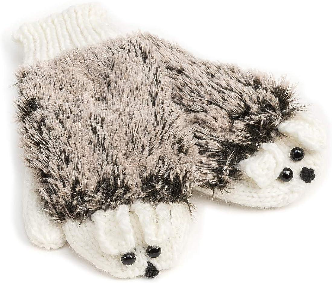 Critter Mittens White Hedgehog Warm and Soft Knit Mitten