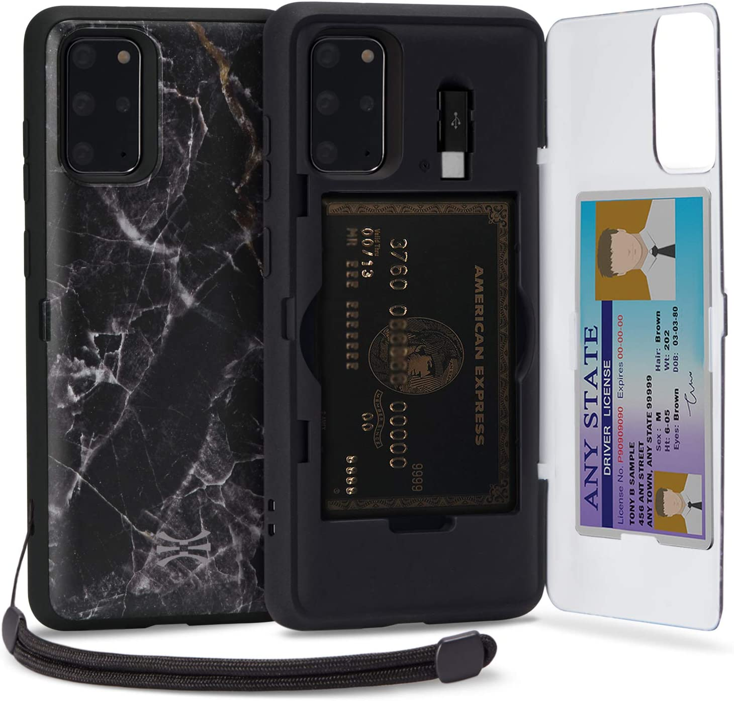 TORU CX PRO Compatible with Samsung Galaxy S20 Plus Wallet Case - Protective Stone Pattern Dual Layer with Hidden Card Holder, ID Slot Hard Cover, Strap, Mirror & USB Adapter - Black Marble