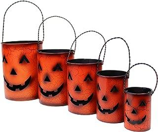 Pumpkin Jack-O-Lantern Metal Candle Holders Nested Luminaries Set of 5