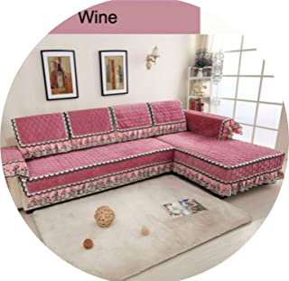 Gooding life Multi-Size Simple Design Sofa Cover with 4 Colors Solid Couch Cushion for Living Room,Wine,90x260cm Towel