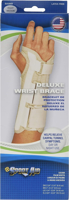 Sportaid Wrist Brace Deluxe Right, Beige Medium 1 each by Scott Specialties (Pack of 2)