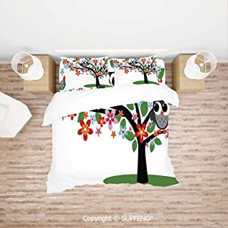 SCOXIXI Bed Cover Set Two Flirty Owls on a Tree with Colorful Flowers Adorable Birdies Summer Nature Decorative (Comforter Not Included) Soft, Breathable, Hypoallergenic, Fade Resistant