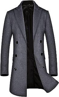 BININBOX Abrigo de lana para hombre con doble botonadura abrigo medio otoño e invierno