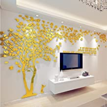 3D Huge Couple Tree DIY Wall Stickers Crystal Acrylic Wall Decals Wall Murals Nursery Living Room Bedroom TV Background Home Decorations Arts (Gold-Left, XL)