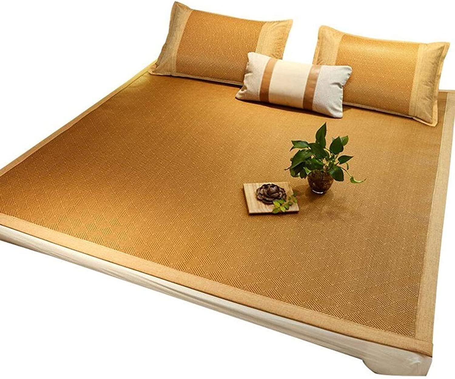 Summer Sleeping Bedding Mat Mattress Rattan Bed Cooling Topper Pad Cushion Foldable Double Single Bed (Size   120X195cm)