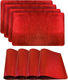 Dainty Home Galaxy Table Placeamt Set of 4, 12x18, Red, 4 Count