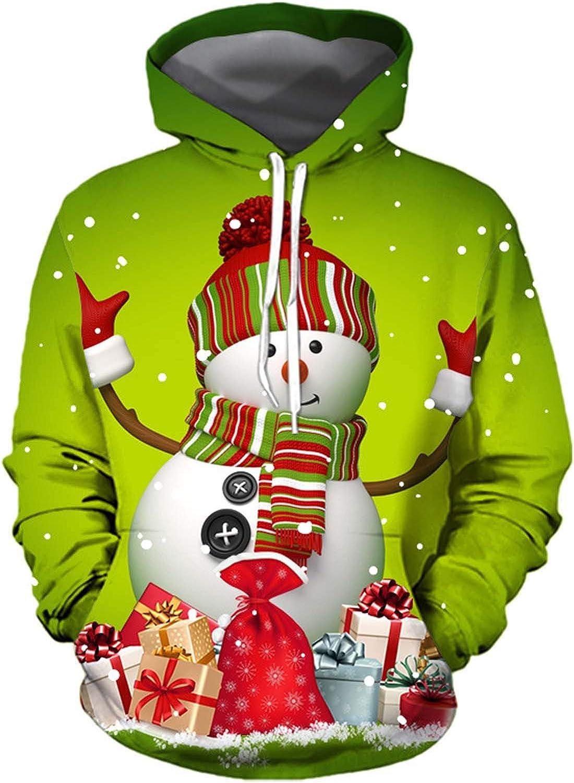 NREALY Men Long Sleeve Christmas Party Hooded Sweatshirt Tops Bl
