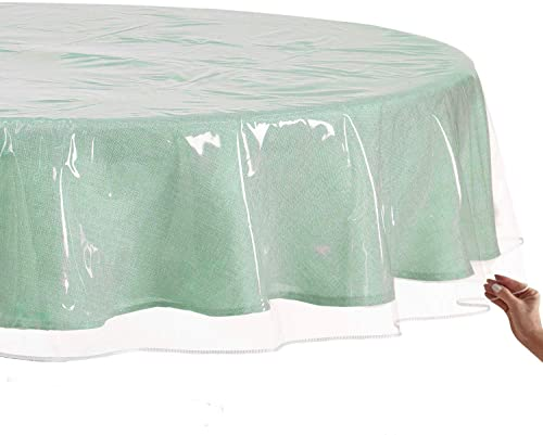 2021 Sorfey online sale Clear Plastic Tablecloth Protector, Waterproof & Stain Resistant, Best Value Thick, Heavy popular Duty, 60-Inch, Round sale