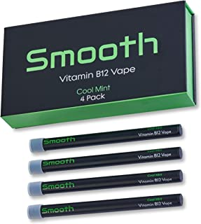 Smooth Vitamin B12 Vape for Energy: All Natural, Vegan-Friendly Vitamin B12 Inhalable Aromatherapy | Great Taste, No Calories, Nicotine Free | Cool Mint Flavor (4 Pack)