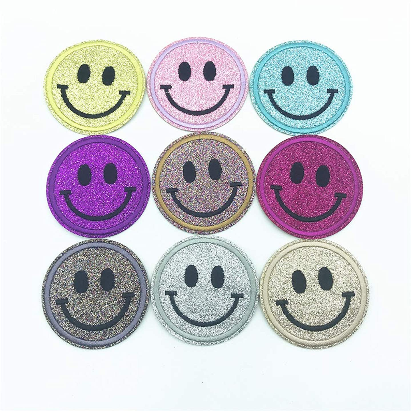 Smile Face Shiny Patches Circle Cartoon Stickers DIY Embroidery Clothes Decoration Sewing Iron Patch 2.52x2.52 Inch of 9pcs
