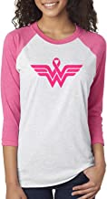Breast Cancer Awareness Pink Ribbon Superhero Logo 3/4 Sleeve Raglan T-Shirt