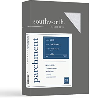 """$25 » Southworth Parchment Specialty Paper, 8.5"""" x 11"""", 24 lb/90 GSM, Gray, 100 Sheets - Packaging May Vary (974C)"""