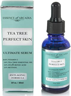 Tea Tree Perfect Skin Facial Serum, Ultimate Anti-Aging Formula for Acne-Prone Skin with 20% Vitamin C, Tea Tree Essential Oil, Retinol and Hyaluronic Acid for Clear, Soft, Radiant Skin.