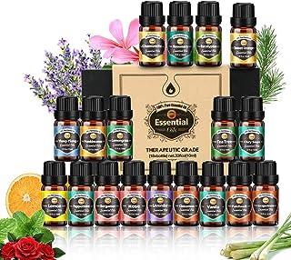 Innoo Tech Essential Oil Set, 18pcs x 10ml, Tea tree, Lavender, Eucalyptus, Frankincense, Lemongrass, Rosemary, Rose, Sage...
