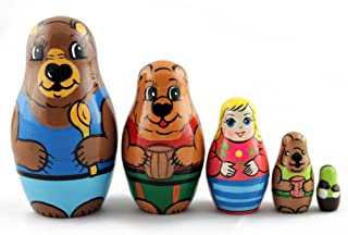Matryoshka Matrioska Babuska Russian Nesting Wooden Doll Goldilocks and The Three Bears Matreshka Babooshka 5 Pc Stacking Hand Painting Matriosjka Matrioska Matreshka Matrjoska Matroeska