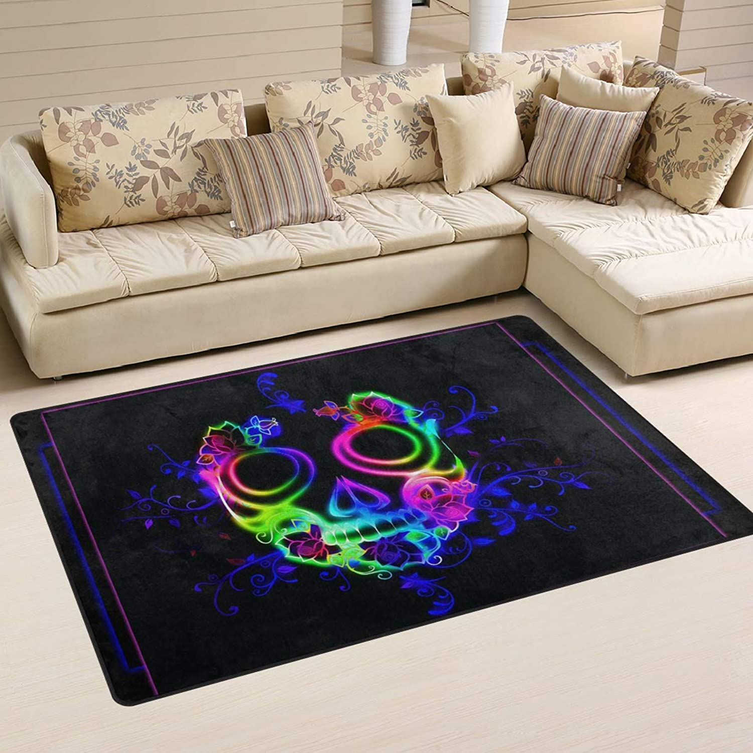 Area Rugs Doormats Horror colorful Skull Ghost Halloween 5'x3'3 (60x39 Inches) Non-Slip Floor Mat Soft Carpet for Living Dining Bedroom Home