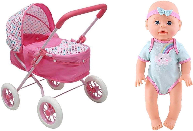 "KOOKAMUNGA KIDS Max 59% OFF Bundle Unicorn 2 in Doll Max 50% OFF Wet 13"" Pram 1 Drink"