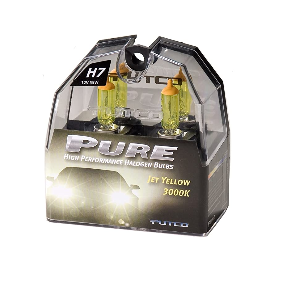Putco 230007JY Pure Halogen Headlight Bulb - Jet Yellow - H7 (Pair)