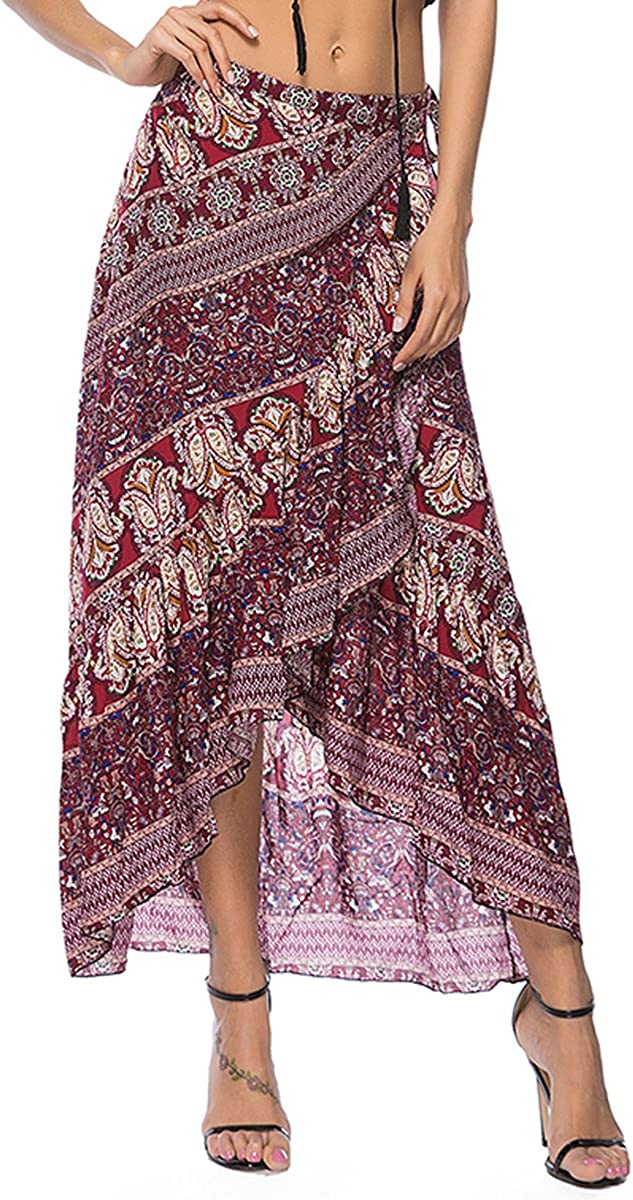 Sherry US Sherry Women Boho Tie Up Skirt Beach Dress Print Wrap Maxi Skirt