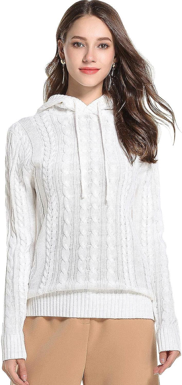 HENGAO Womens Fashion Twist Knit Hooded Sweater